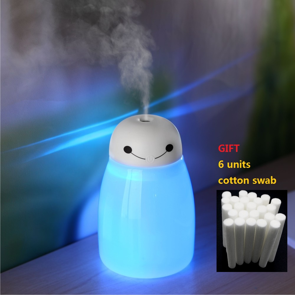 KBAYBO 400ml Air Humidifier USB Diffuser Ultrasonic Mist Maker With 7 Color LED Night Light 8mm*130mm Filters Cotton Swab