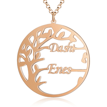 Customized Tree Name Necklaces Rose Gold Pendant Engraved Couple Names Fashion Personalized  Jewelry Promised Gift for Women