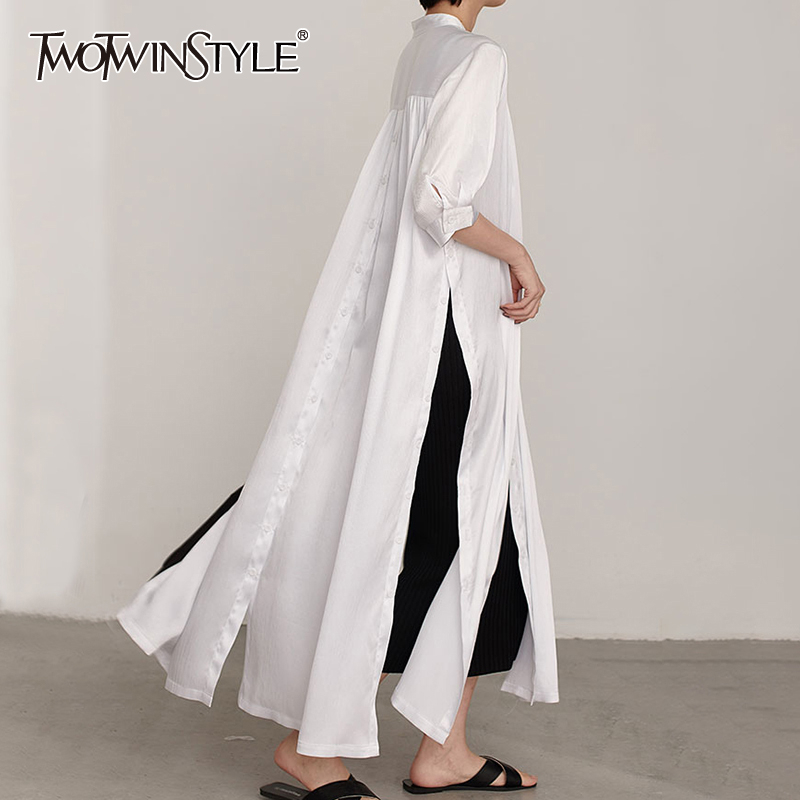 TWOTWINSTYLE Casual Minimalist Women Dress V Neck Long Sleeve High Waist Side Split Dresses For Female Fashion Clothing 2020 New
