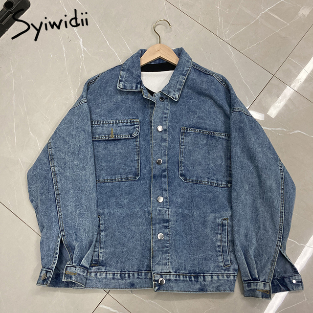 Syiwidii Jean Jacket Women Clothes Oversized Jeans Denim Coat Korean Coats Spring Fall 2021 New Jackets for Women Solid Casual 6