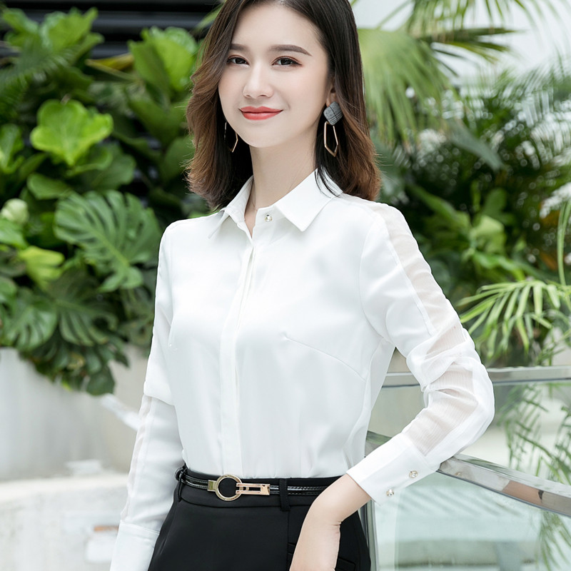 Image 4 - Fashion women shirt 2019 Spring autumn New temperament long sleeve formal slim satin blouses office ladies plus size work topsBlouses & Shirts   -
