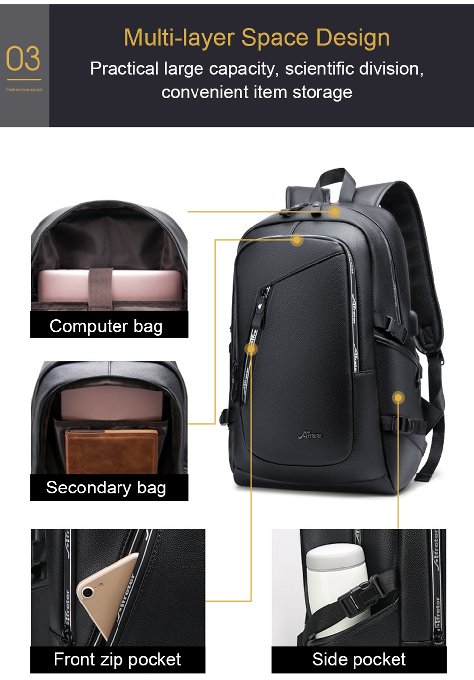 Leather Backpack USB Charging Smart Bags