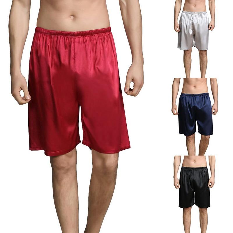 MJARTORIA Hot Men's Satin Summer 2019 New Shorts Pajamas Pyjamas Male Casual Lounge Short Pants Loose Soft Sleep Bottoms M-5XL