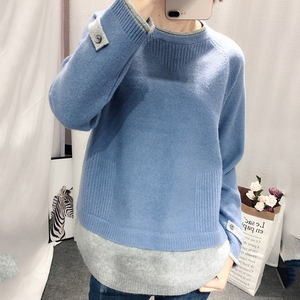 Image 2 - Hot Sale Fake Two Cashmere Sweater Womens Round Neck Pullover Autumn And Winter 2019 New Long Sleeve Korean Loose Wool Sweater