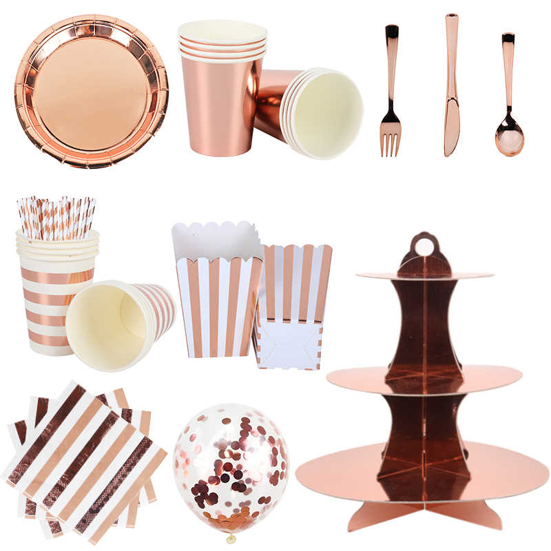 Rose Gold Party Wegwerp Servies Rose Gold Cup Plaat Rietjes Volwassen Verjaardag Party Decor Bruids Feestartikelen