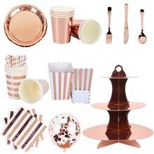 Utensílios para festa rosada, conjunto de talheres descartáveis em ouro rosado, para adultos, aniversário, decoração de festa