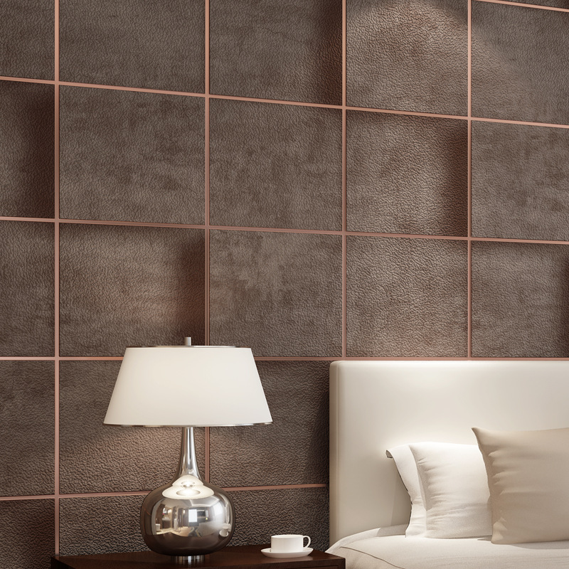 Modern European Style 3D Faux Marbling Suede Grid Wallpaper Coffee Bedroom Warm Bedside Background Wallpaper