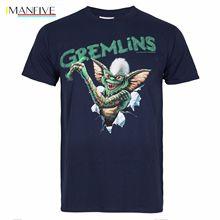 Mens Gremlins Crayon Stripe Mohawk Graphic T-shirt Tee Crew Neck - Navy Colour T-Shirt For Men/Boy Short Sleeve Cool Tees цена