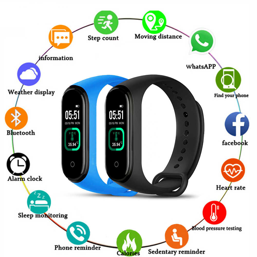 M4 Pro Smart Band Thermometer M4 Upgrade Fitness Tracker Hartslag Bloeddruk Fitness Armband Smart Horloge Voor Ios Android