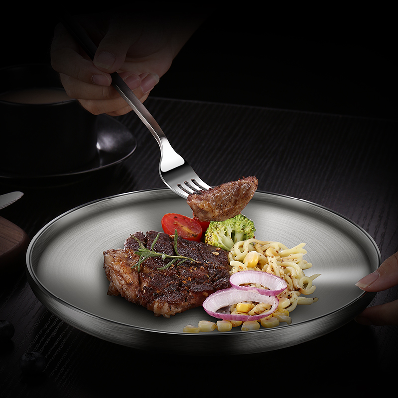 Dinner Plates 304 Stainless Steel Metal Wire-drawing Multi Layer Heat Insulation Home Western Food Steak Plates