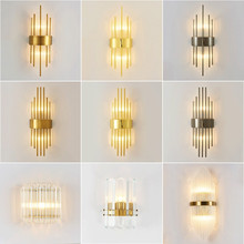 Designer Gold Luxury Crystal Wall Lamp Bedroom Aisle Corridor LED Light Bathroom Sconce Foyer Bedside E14 Bulb