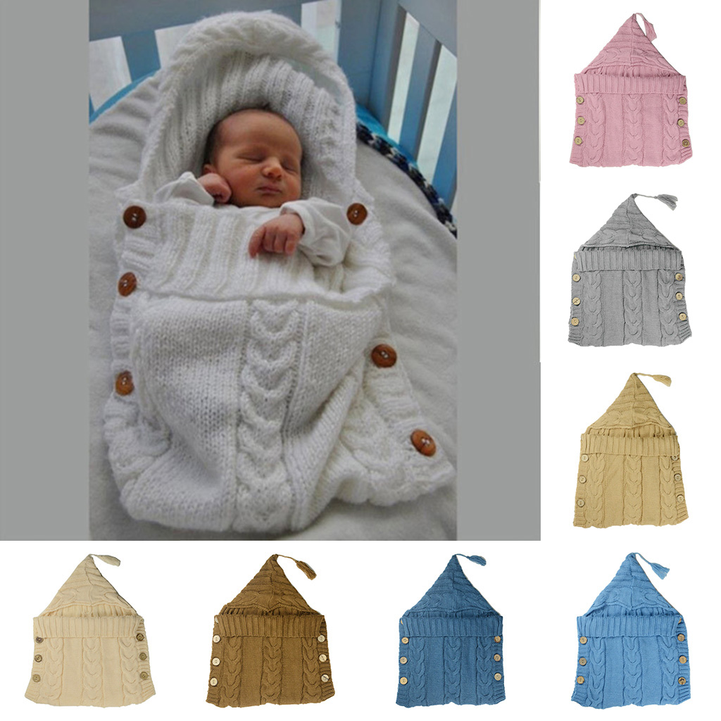 Newborn Infant Baby Blanket Knit Crochet Warm Swaddle Wrap Sleeping Bag Soft Knitting Children Girl Boy Photograph Props