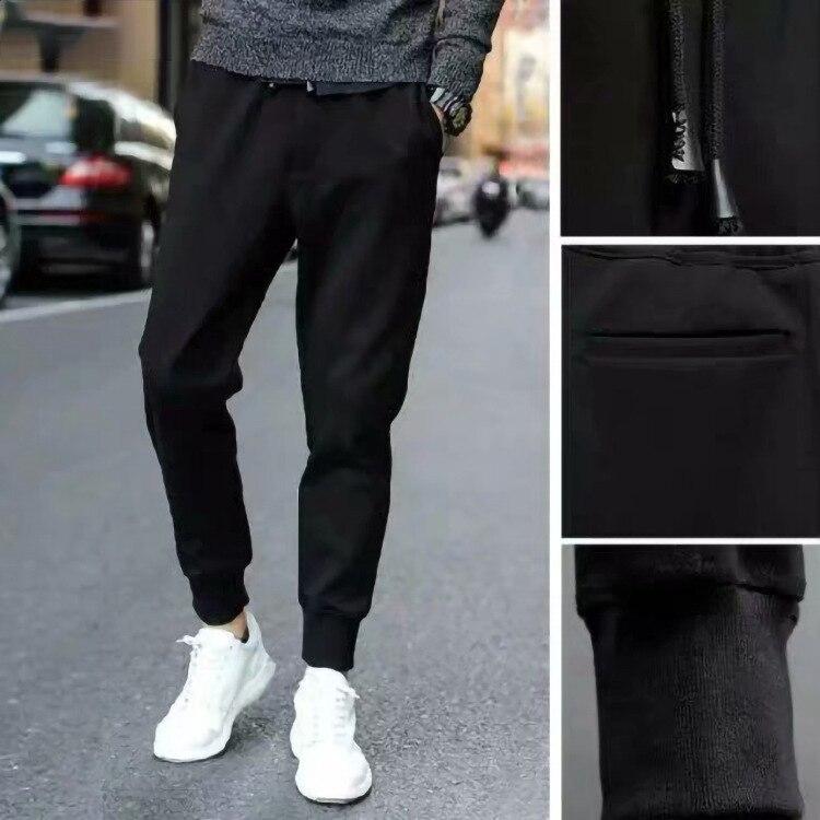 Slim Fit Pants Athletic Pants Four Seasons Men Capri Casual Pants Pure Black Leather Cord Harem Pants