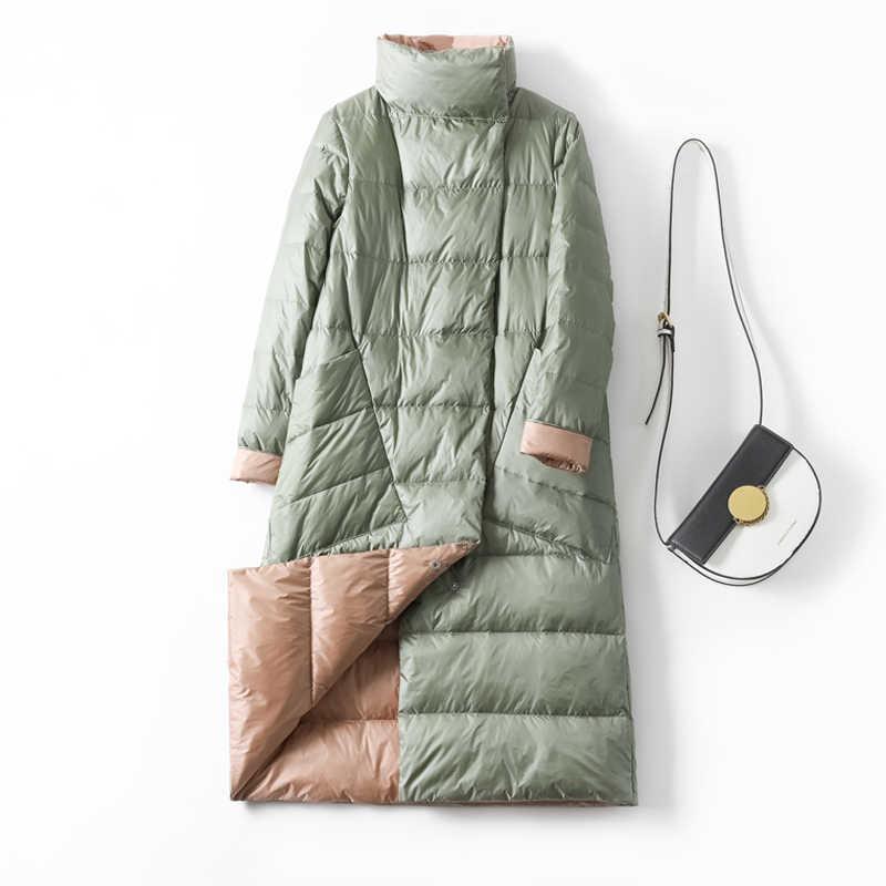 アヒルダウンジャケット女性の冬 2019 アウターコート女性のロングカジュアルライト超薄型暖かいダウンフグジャケットパーカーブランド