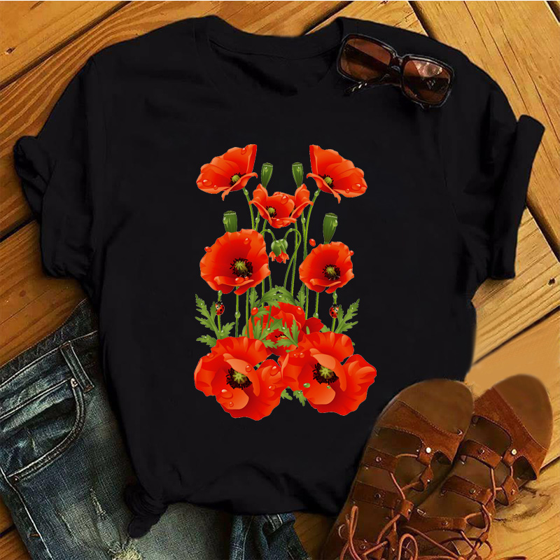 Red Poppy Women T Shirt Casual Funny Tshirts Kawaii Tees Top Hipster Tumblr Female Harajuku Short Sleeves Shirts Woman Clothes