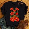 Red Poppy Frauen T Shirt Casual Lustige T-shirts Kawaii Tees Top Hipster Tumblr Weibliche Harajuku Kurzen Ärmeln Shirts Frau Kleidung