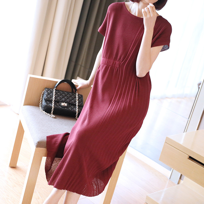 2019 Korean-style New Style WOMEN'S Dress Mid-length Short Sleeve Loose-Fit Dress Summer Loose-Fit Waist Hugging Large Size Knit