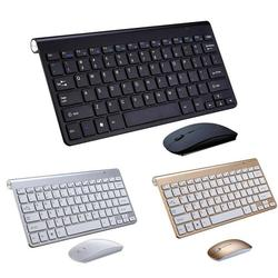 2020 Terbaru 2.4G Keyboard Nirkabel dan Mouse Mini Multimedia Keyboard Mouse Combo Set Tahan Air untuk PC Komputer Laptop