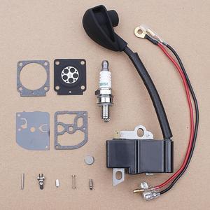 Kit de reparo do carburador da bobina de ignição para stihl hs81 hs81r hs81t hs86 hs86r trimmer substituição 4237 400 1302 w vela de ignição