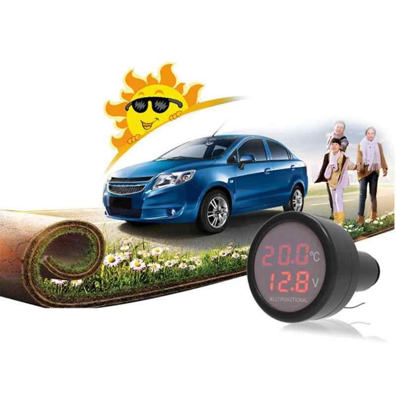 متعددة الوظائف USB شاحن سيارة 12 فولت/24 فولت الرقمية الفولتميتر ميزان الحرارة السيارات فولت متر مقياس 2.1A شاحن سريع ل هاتف لوحي