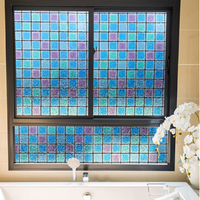 Colorful Mosaic Pattern Glass Film Static Cling Privacy Protection Multi Size Stained Home Decor Window Cover 23.62''by78.7''