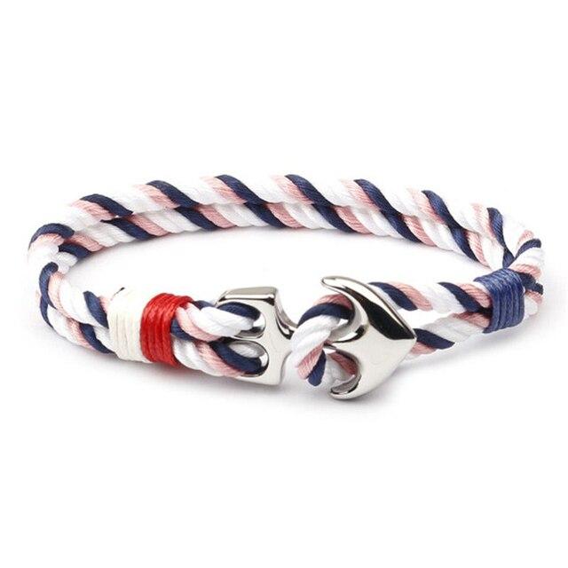 Men Bracelet Stainless Steel Anchor Bracelets Trendy Nautical Survival Nylon Rope Chain Armband Women Paracord Charm Bracelet