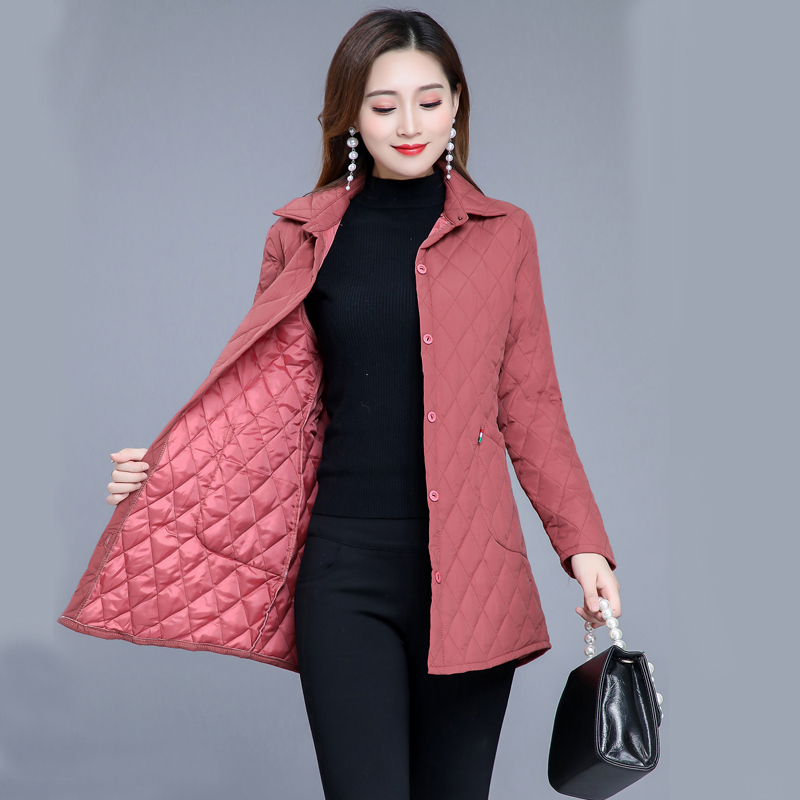 Thin Quilted Jacket Autumn Winter Warm Long-sleeved Jacket Parkas New Middle Age Women Cotton-padded Tops Mother Cotton Coat