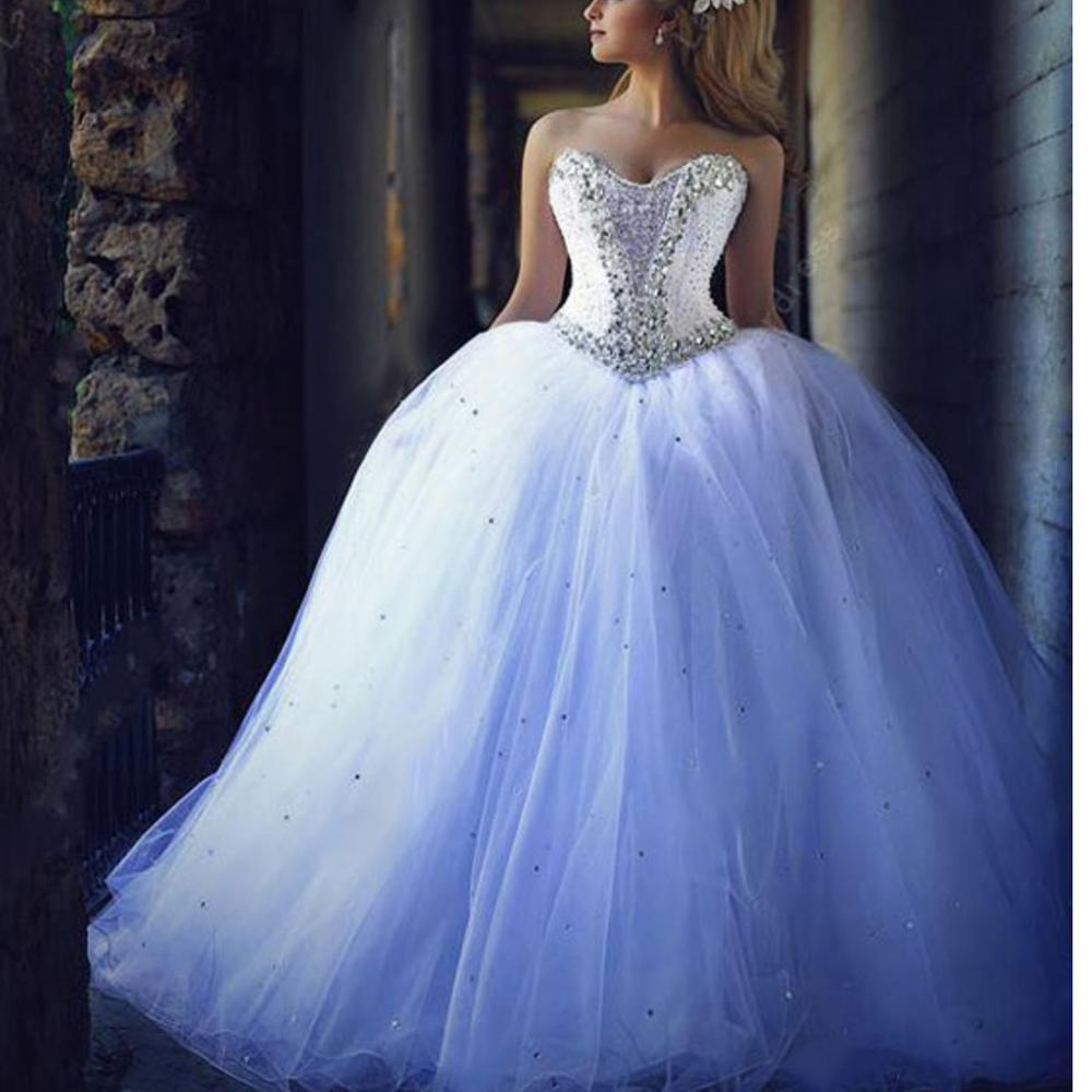 Dream White Tulle Wedding Dress Plus Size Sweetheart Neckline Crystals Beading Ball Gown Court Train Backless Custom-Made