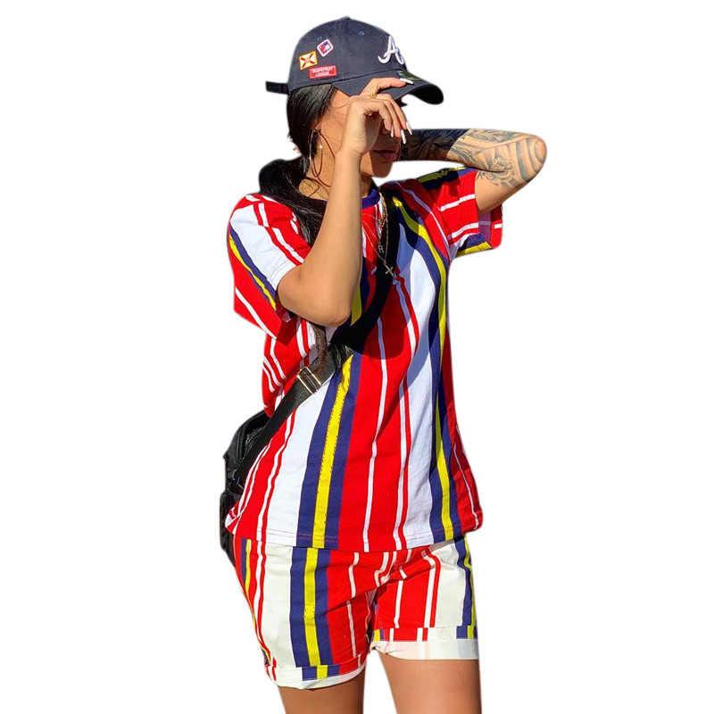 2019 mujeres verano nuevas rayas coloridas cuello redondo Camiseta pantalones cortos moda deportiva dos piezas conjunto chándal casual traje MH7015