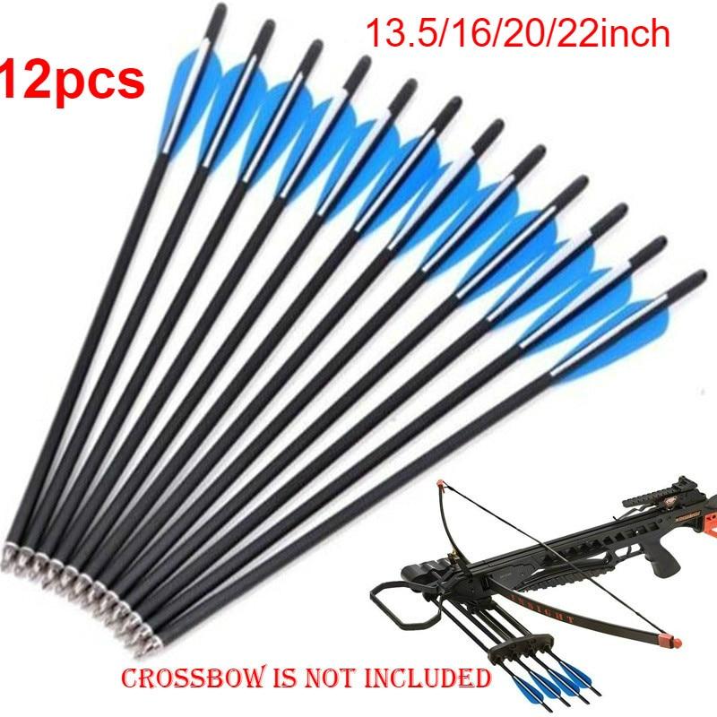 12pcs Crossbow Bolts Crossbow Arrows 13.5\ 16'' 20\ 22inch Carbon Shaft Arrow Tips Nock Archery Arrows Compound Arrow
