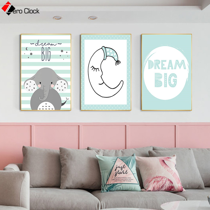 Zero Clock Zebra Elephant Giraffe Koala Bubblegum Posters And Prints Baby Ainimal Canvas Painting Nursery Kids Room Wall Decor Leather Bag