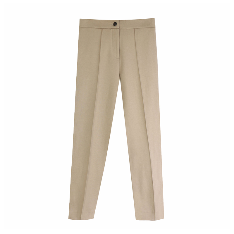 Aachoae Women Solid Elegant Pants Leggings Pleated Side Leg Split Pencil Pants Lady Zipper Fly Casual Skinny Trousers Pantalon 9