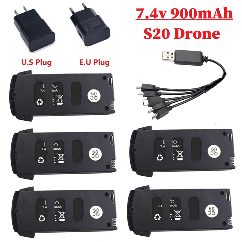 <font><b>7.4V</b></font> <font><b>900mAh</b></font> Lipo Battery with battery charger sets For S20/JJRC H78G Drone RC Quadcopter Spare Parts for S20 Drone <font><b>7.4v</b></font> Battery image