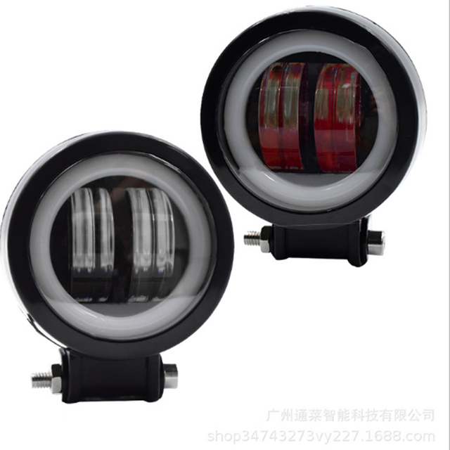 20W Universal Motorcycle Car LED Headlight Work Light Bicolor Fog Lamp off-Road Vehicle Lights Modification Car Lights