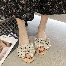 Bowknot Flat Slides for Women Designer Slippers Sexy Fashion Dresses Summer Sandals Outside Lady Sandalet