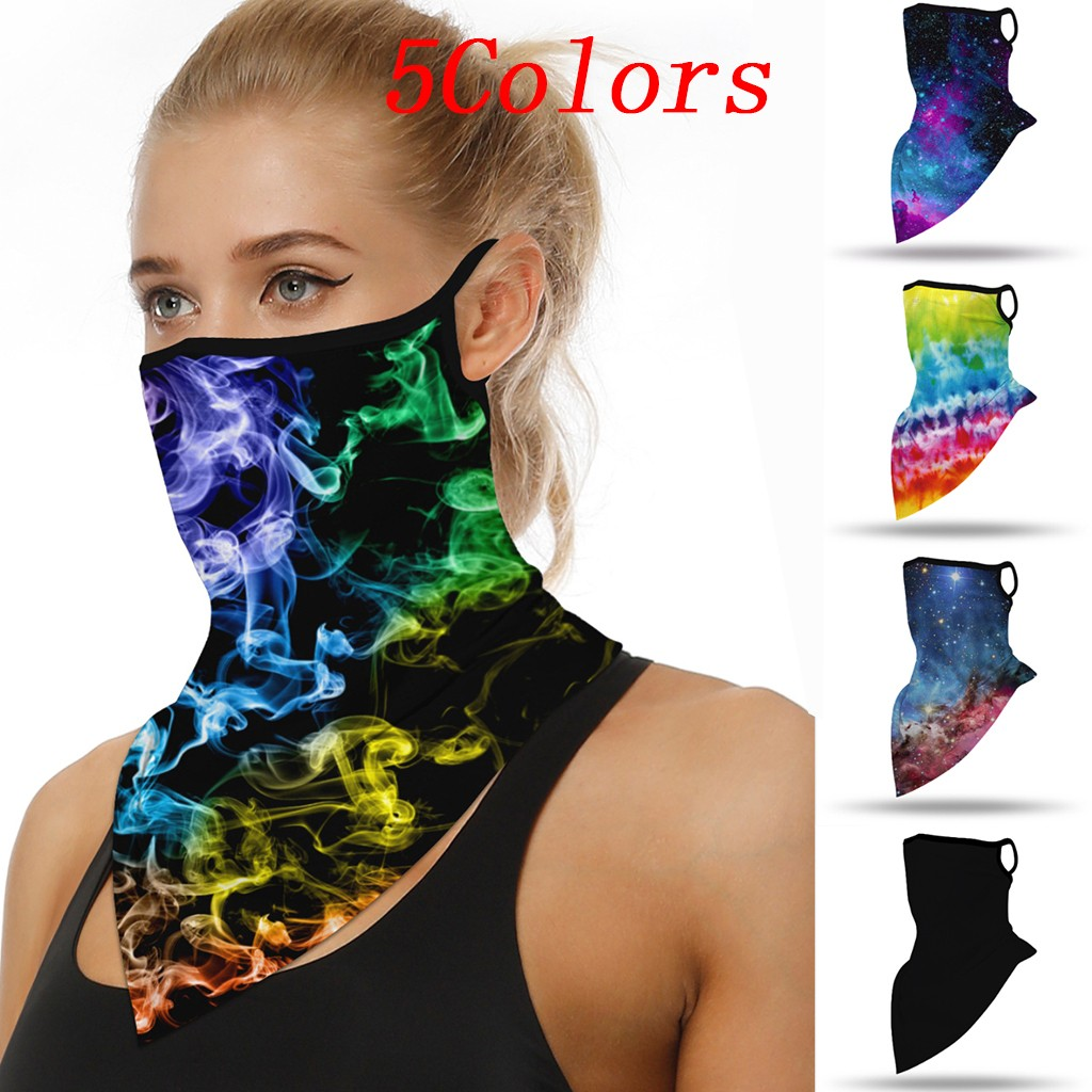 Summer Outdoor Riding Mask Neck Protection Sunscreen Mask Motorcycle Earmuffs Silk Head Scarf Foulard Femme Facemask Party Favor(China)