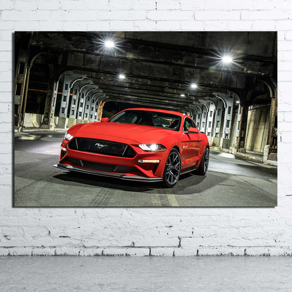 Framed Muscle Car Picture 30x20 Inch Canvas Ford Mustang