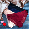 ATTRACO Women's Lace Underwear String Pantie Briefs Cotton 4 Pack Cueca Calcinha  Tanga Thong Lace Edge Cotton Crotch Tempting 1