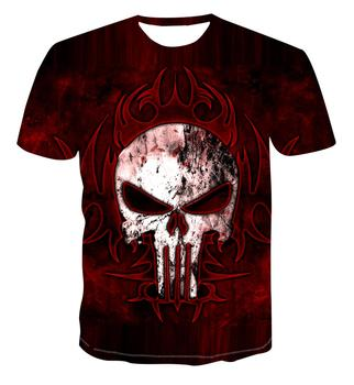 New 3D printing men's T-shirt with skull pattern psychedelic color men's casual round neck fashion T-shirt stripe pattern round neck stitching design t shirt in black