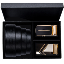 Hi-Tie Brand Genuine Leather Belts for Men Box Set Formal Designer Business Buckle Gold Belt Strap Automatic leather Mens
