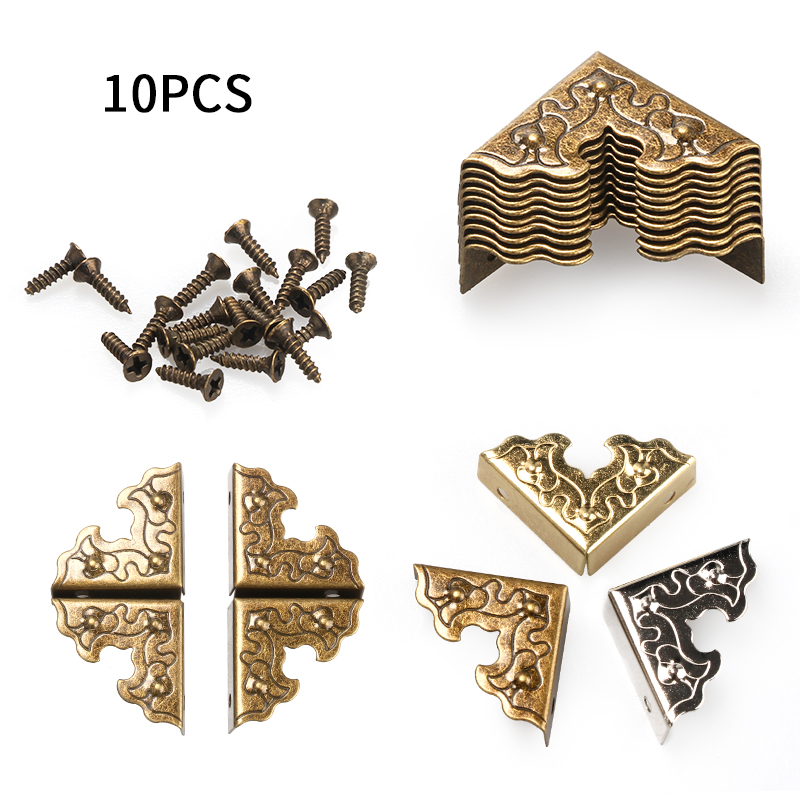 10Pcs 25mm Antique Furniture Metal Crafts Jewelry Box Corner Foot Wooden Case Corner Protector Decorative Corner