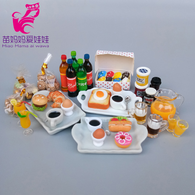 Mininature Food Drink Model Kitchen Breakfast Dessert For Barbie Doll Blythe Doll House Diy Accessories
