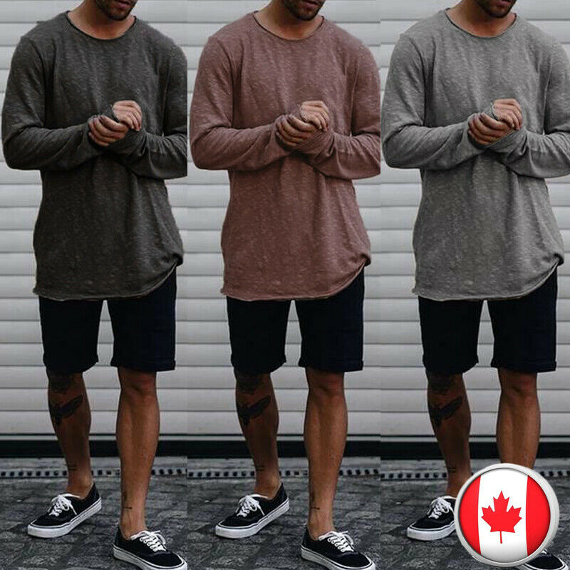 2018 Men's Slim Fit Crew Neck Long Sleeve Solid Muscle Tee T-shirt Casual Pullover Tops Fashion