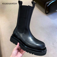 VIISENANTIN 2020 Spring Autumn Models Leather Chelsea Boots Casual British Thick Bottom Martin Boots Female Sleeve Boots