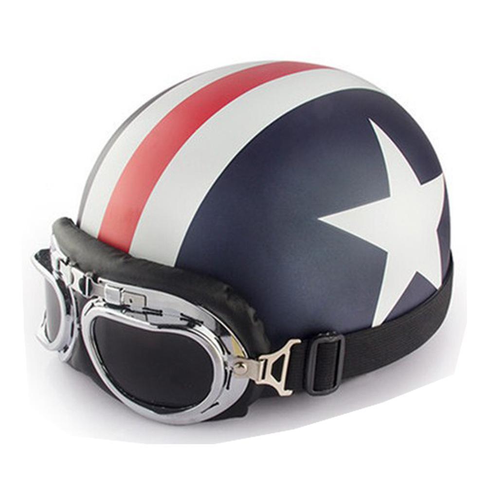 Unisex Motorrad Helm Mit Brille Halb Gesicht Schädel Kappe Sonnenschutz Helm