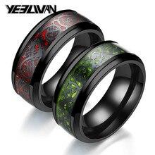 Nuevo Anillo de acero inoxidable de fibra de carbono para hombre anillo de dragón rojo verde negro incrustado anillos cómodos para mujeres Steampunk anillo de boda