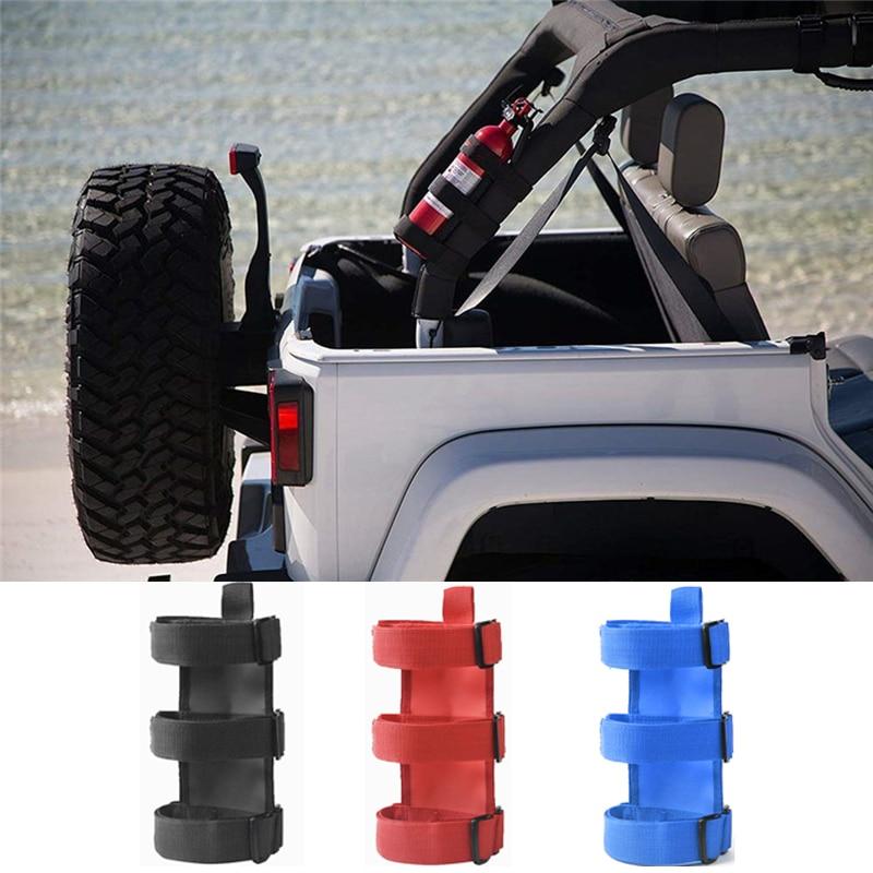 Car Roll Bar Fire Extinguisher Holder Car Accessories Fire Extinguisher Mount Strap for Jeep Wrangler TJ JK JL 97-18