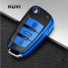 TPU Caso Protetor Tampa Da Chave Do Carro de couro Para Audi A3 A4 A5 C5 C6 8L 8P B6 B7 B8 C6 RS3 Q3 Q7 TT 8L 8V S3 keychain