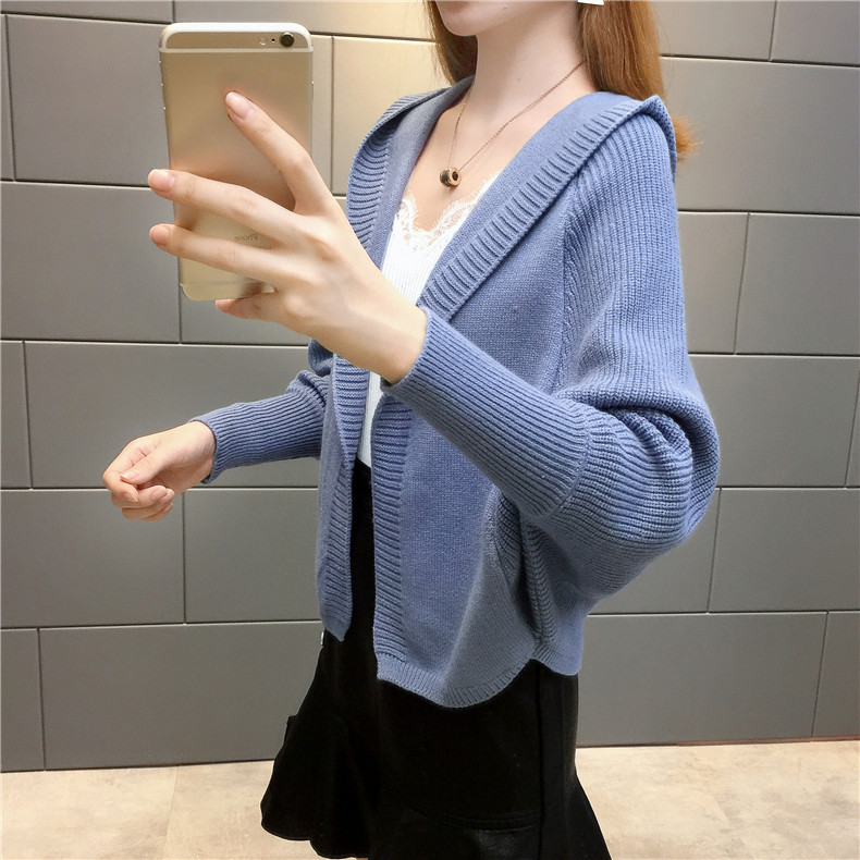 2019 Free send New style Korean loose and comfortable Autumn women Cardigan Sleeve of bat Hooded Sweater coat 152