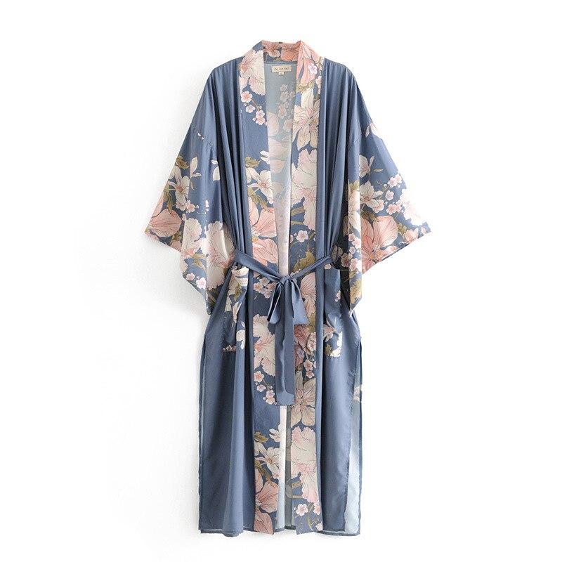 Bohemian Cardigans Women Open Stitch Floral Kimono Mujer Floral Print Long Jacket Kimono Boho Chic Beachwear Holiday Robe Female